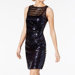 NWT! Vince Camuto Sequin-Stripe Sheath Dress Navy